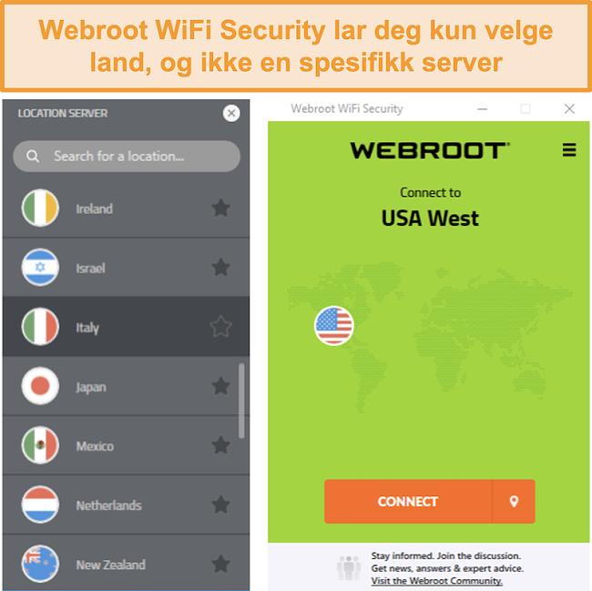 Skjermbilde av Webroot WiFi Securitys servernettverksmeny