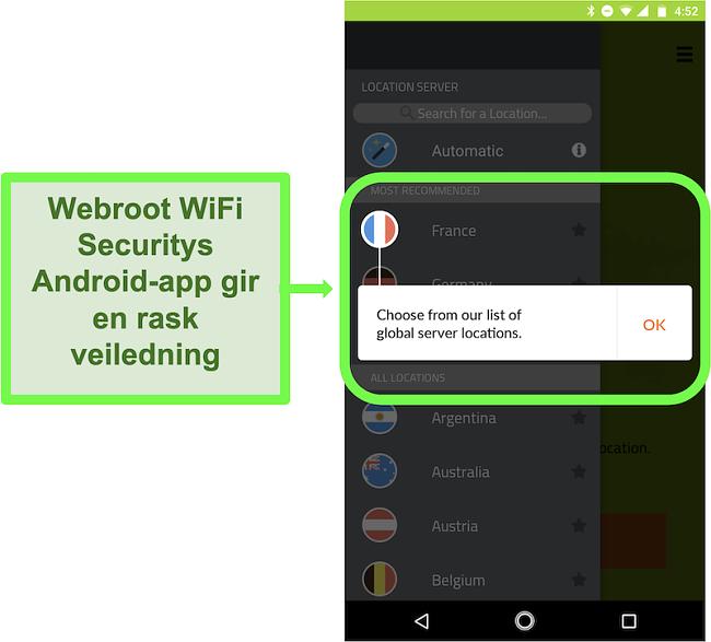 Skjermbilde av Webroot WiFi Securitys Android-app som gir en brukerveiledning