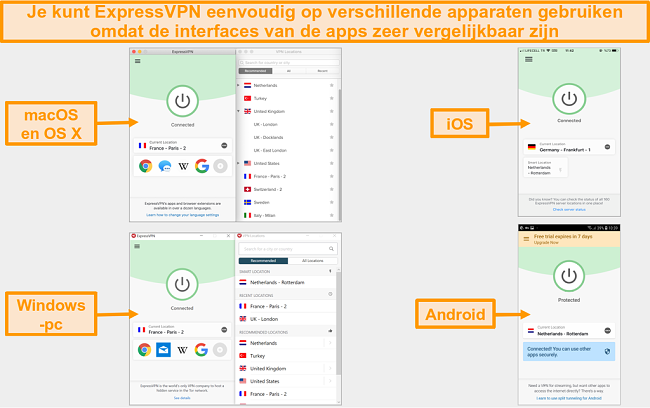 Vergelijking van de gebruikersinterface en lay-out van de macOS-, OS X-, iOS-, Windows- en Android-app van ExpressVON