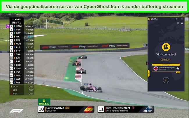 Screenshot van F1 live streamen en CyberGhost verbonden met een Britse server.