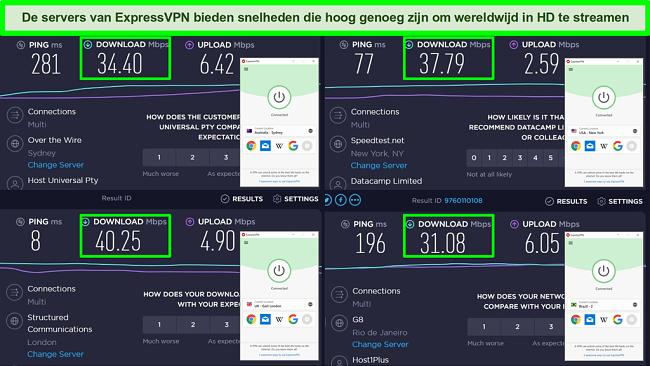 Screenshots van Ookla-snelheidstests en ExpressVPN verbonden met servers in Australië, de VS, het VK en Brazilië.