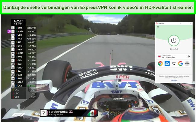 Screenshot van F1 race-streaming met ExpressVPN verbonden met de Britse server.