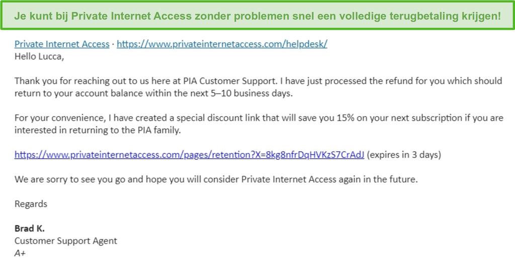 Schermafbeelding van een e-mail van Private Internet Access, met een verzoek om terugbetaling onder de 30 dagen niet-goed-geld-terug-garantie