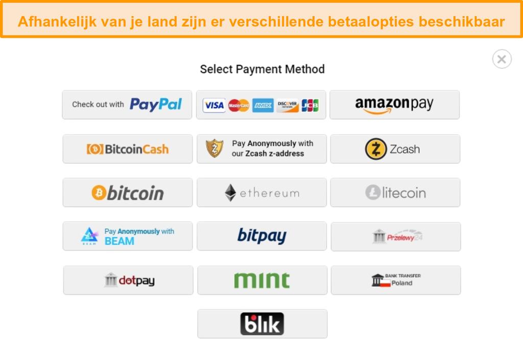 Schermafbeelding van de mogelijke betalingsmethoden bij het aanmelden voor Privé-internettoegang