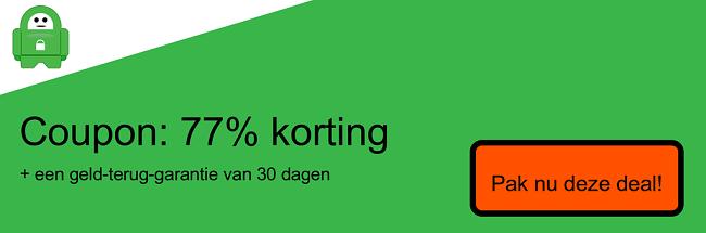 Screenshot van coupon 77% korting op privé-internettoegang