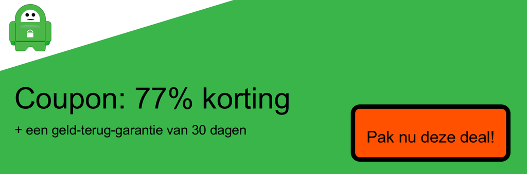 Screenshot van coupon 77% korting op privé-internettoegang
