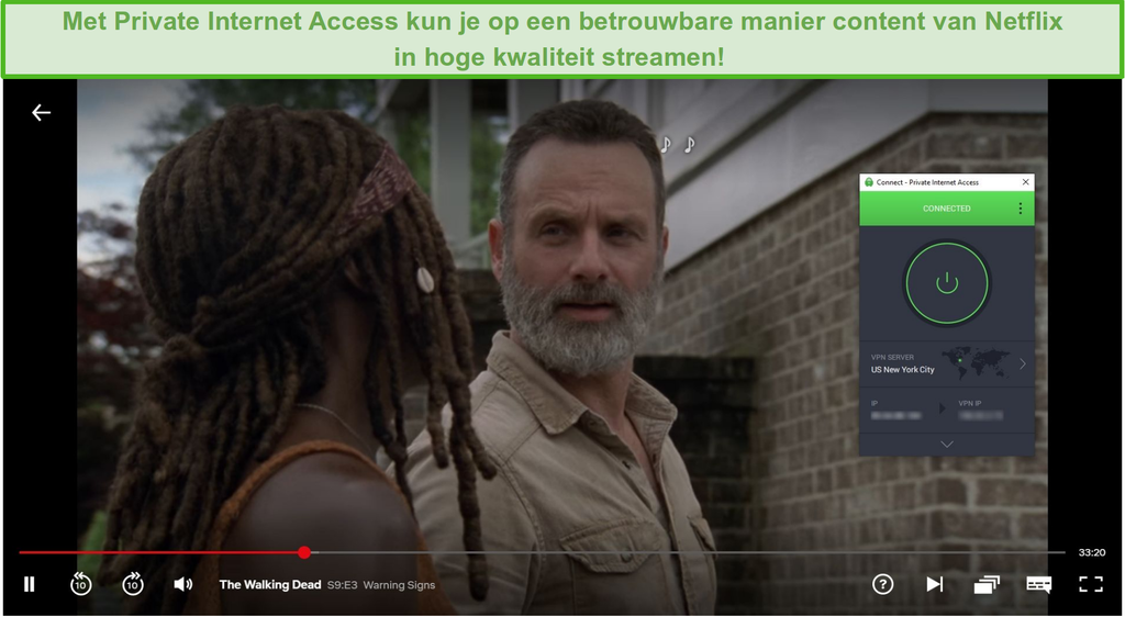 Schermafbeelding van Private Internet Access die Netflix US deblokkert en The Walking Dead streamt