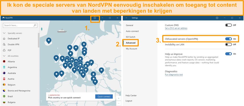 Screenshot van NordVPN verduisterde serverconfiguratie.