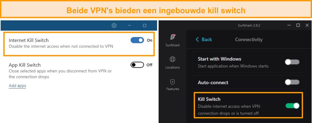 Screenshot van de geïntegreerde kill-switches van NordVPN en Surfshark.