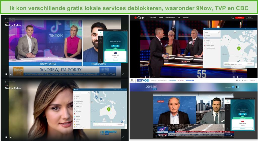 Screenshot van NordVPN en Surfshark die verschillende lokale tv-stations deblokkeren, waaronder 9Now, TVP en CBC.