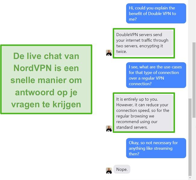 Screenshot van NordVPN live chat-assistentie.