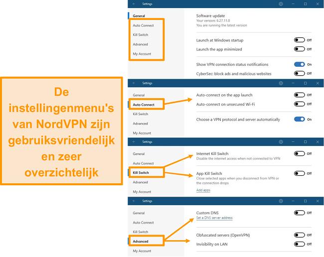 Screenshot van de desktopmenu's van NordVPN.
