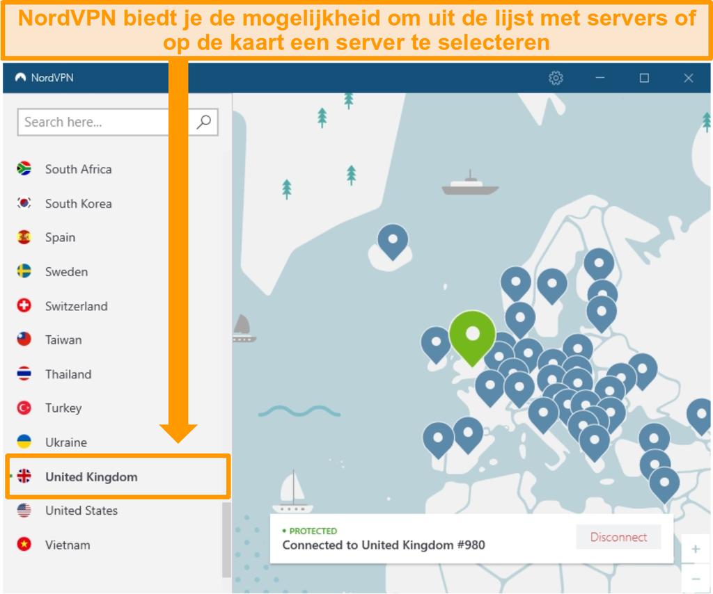 Screenshot van NordVPN verbonden met een Britse server.