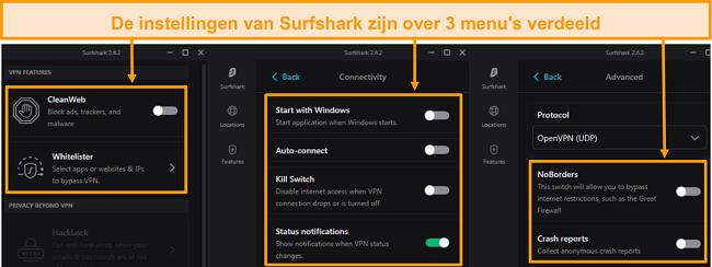 Screenshot van de bureaubladmenu's van Surfshark.