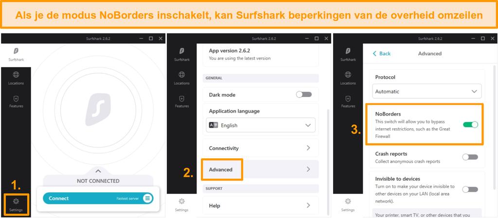 Screenshot van de installatie van Surfshark NoBorders.