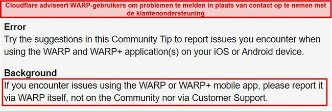 Schermafbeelding van de WARP-klantenondersteuningsinformatie van Cloudflare, waarmee gebruikers worden geïnformeerd dat ze de app alleen voor ondersteuningsproblemen mogen gebruiken.