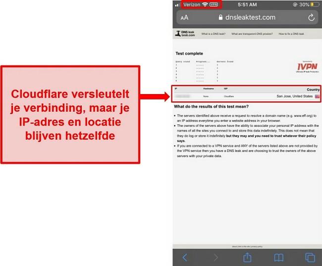Schermafbeelding van het WARP IP- en DNS-lektestresultaat van Cloudflare - het is niet geslaagd omdat het de adressen van gebruikers niet vervangt.