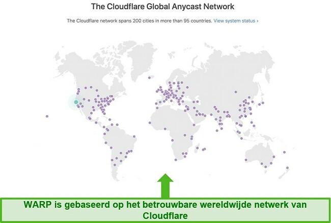Screenshot van Cloudflare's, het moederbedrijf van Warp, het wereldwijde netwerk en hoe het de snelheid van WARP verhoogt