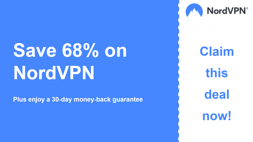 Graphic of NordVPN main coupon banner showing 68% off