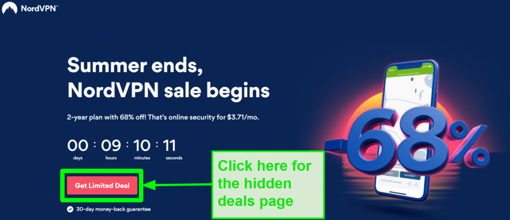 Screenshot of NordVPN hidden deals page