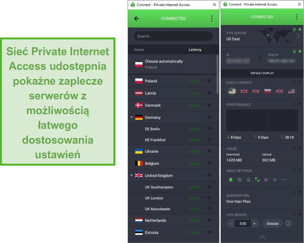 Zrzut ekranu przedstawiający listę serwerów PIA podczas połączenia z serwerem US East