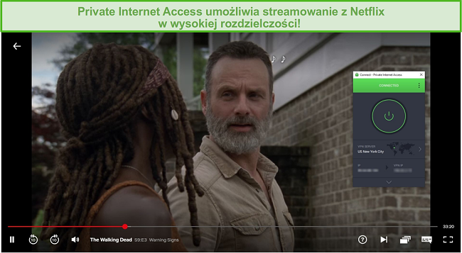 Zrzut ekranu przedstawiający odblokowanie PIA Netflix US i strumieniowe przesyłanie The Walking Dead