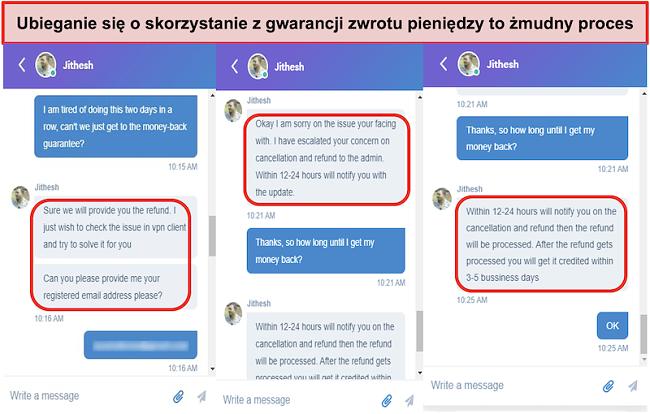 zrzut ekranu z claiming the money-back guarantee is a lengthy process