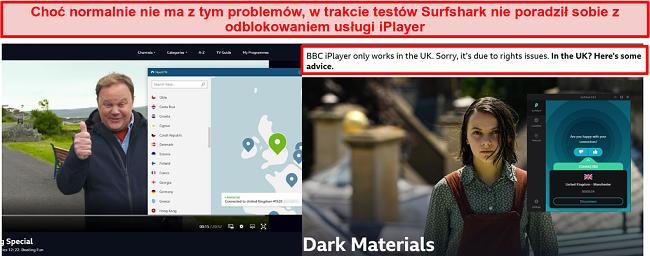 Zrzut ekranu przedstawiający NordVPN, który pomyślnie odblokował BBC iPlayer, a Surfshark się nie udaje.