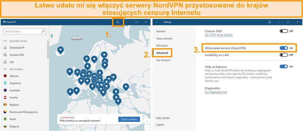 Zrzut ekranu przedstawiający zaciemnioną konfigurację serwera NordVPN.