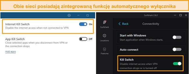 Zrzut ekranu ze zintegrowanymi wyłącznikami awaryjnymi NordVPN i Surfshark.