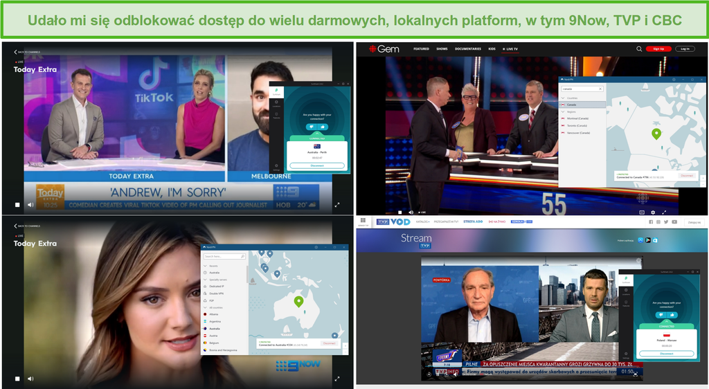 Zrzut ekranu przedstawiający NordVPN i Surfshark odblokowujące różne lokalne stacje telewizyjne, w tym 9Now, TVP i CBC.