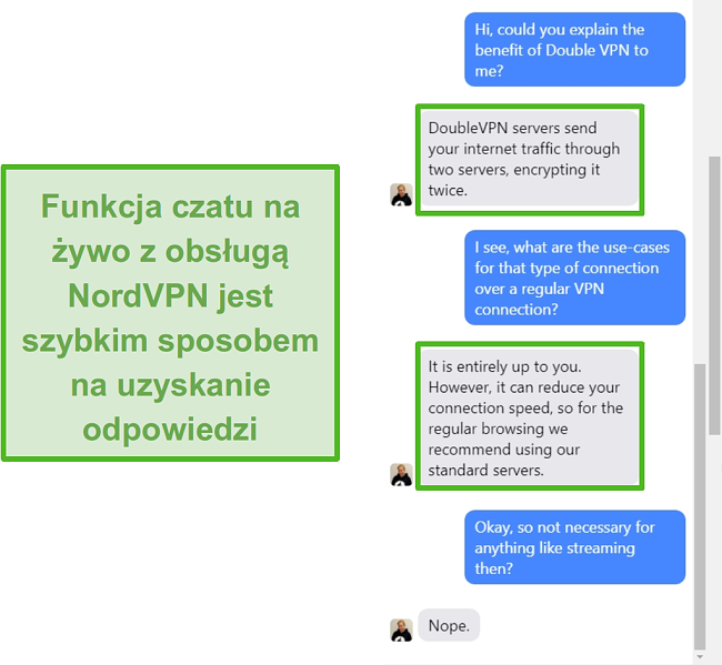 Zrzut ekranu przedstawiający pomoc na czacie na żywo NordVPN.
