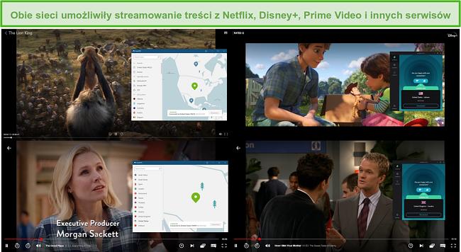 Zrzut ekranu przedstawiający NordVPN i Surfshark odblokowujące różne programy telewizyjne i filmy w serwisach Netflix i Disney +.