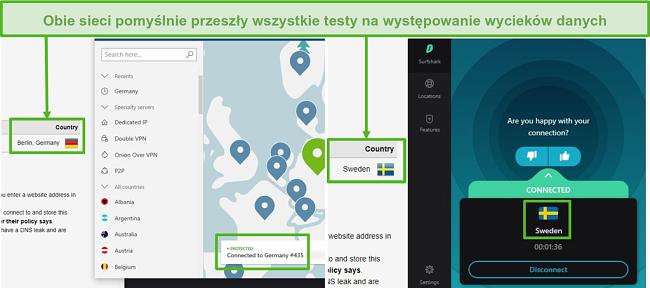 Zrzut ekranu przedstawiający NordVPN przechodzący test szczelności połączony z niemieckim serwerem i Surfshark, który przechodzi test szczelności połączony z serwerem szwedzkim.