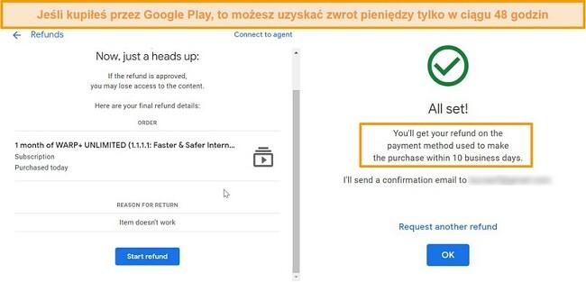 Zrzuty ekranu przedstawiające proces zwrotu kosztów WARP przez Google