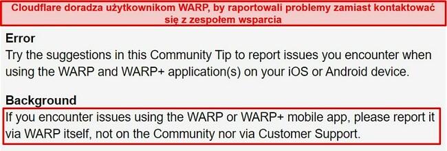 Zrzut ekranu przedstawiający informacje o obsłudze klienta WARP firmy Cloudflare, informujące użytkowników, aby korzystali z aplikacji wyłącznie w przypadku problemów z pomocą techniczną.