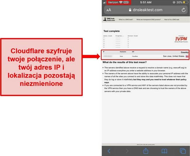 Zrzut ekranu przedstawiający wynik testu wycieku adresu IP i DNS Cloudflare - nie przeszedł, ponieważ nie zastępuje adresów użytkowników.