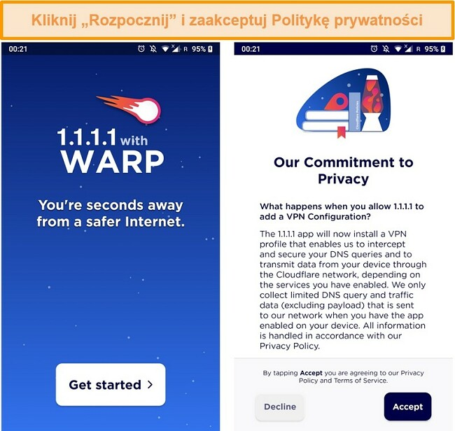 Zrzut ekranu przedstawiający konfigurację WARP po uruchomieniu aplikacji