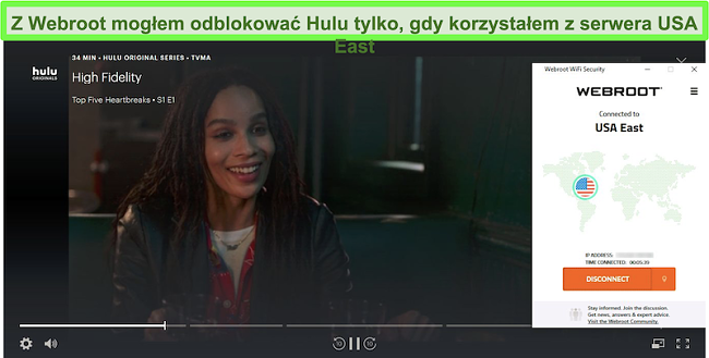 Hulu streaming High Fidelity podczas połączenia z serwerem Webroot USA East