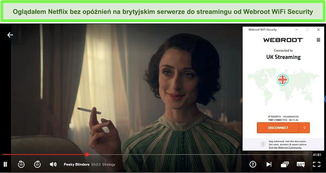 Zrzut ekranu przedstawiający przesyłanie strumieniowe Peaky Blinders z serwisu Netflix podczas połączenia z serwerem strumieniowym Webroot WiFi Security w Wielkiej Brytanii