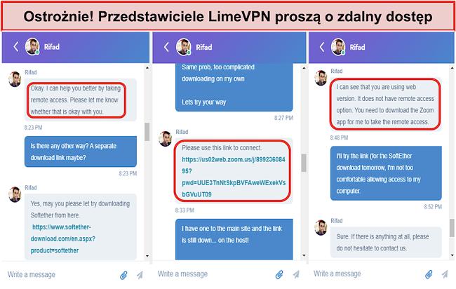 zrzut ekranu z limeVPN agents request remote access