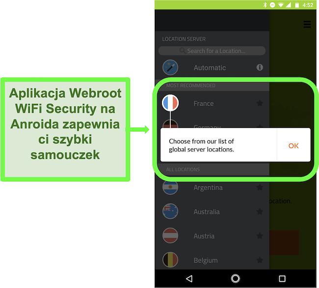 Zrzut ekranu aplikacji Android Webroot WiFi Security z samouczkiem dla użytkownika