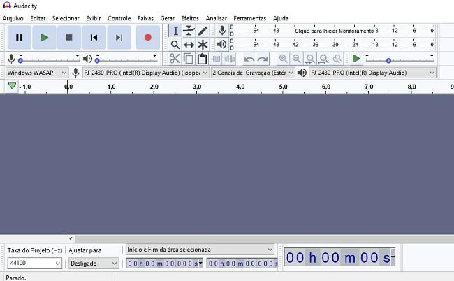 Interface do Audacity