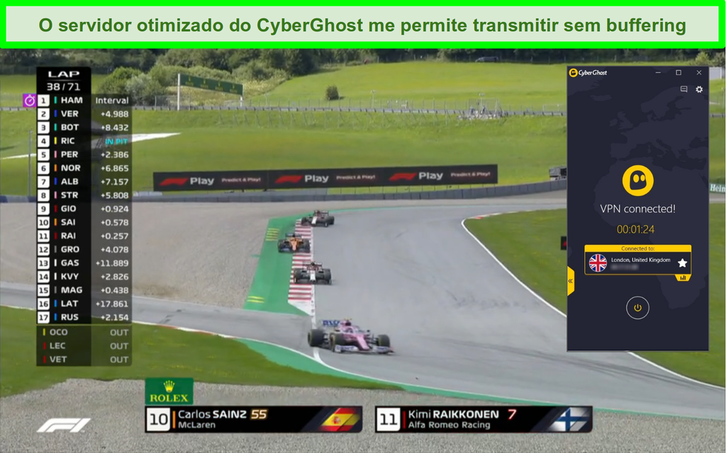 Captura de tela do F1 streaming ao vivo e CyberGhost conectado a um servidor do Reino Unido.
