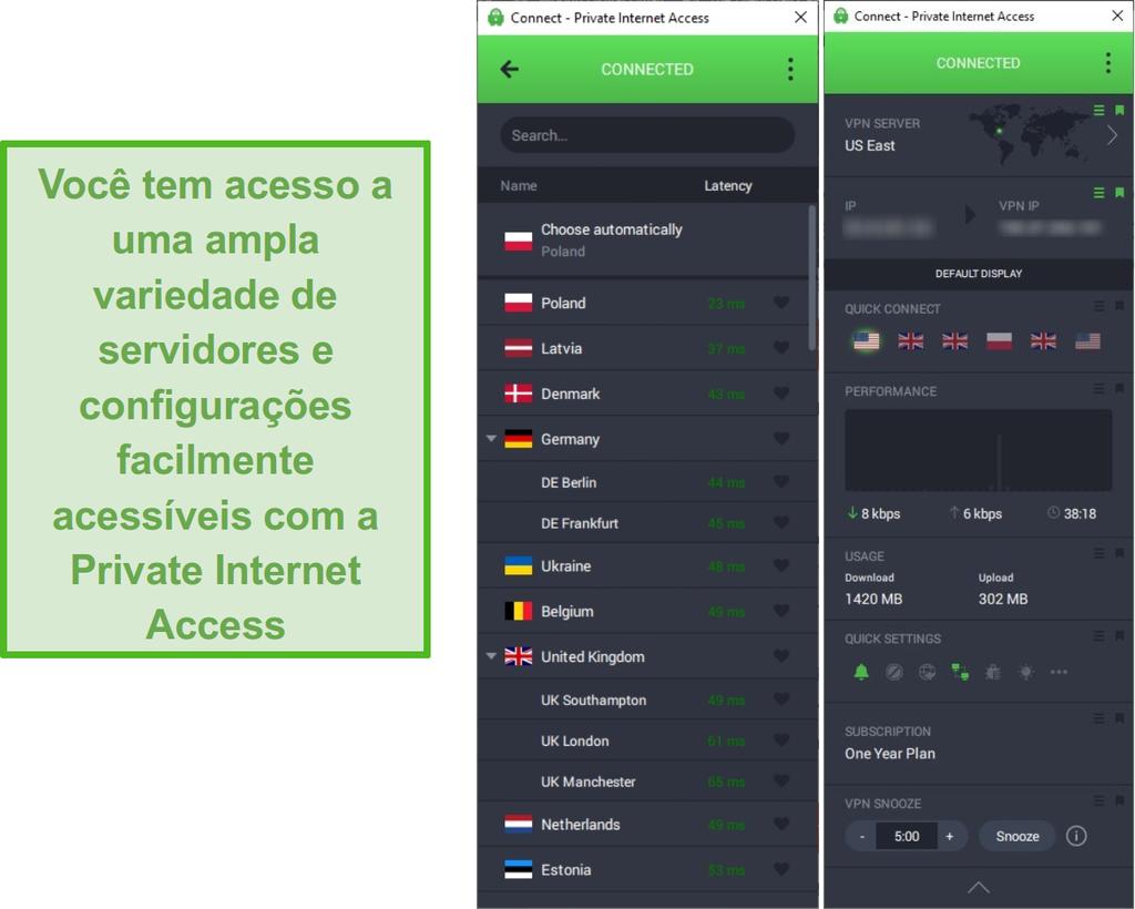 Captura de tela mostrando a lista de servidores PIA enquanto conectado ao servidor Leste dos EUA