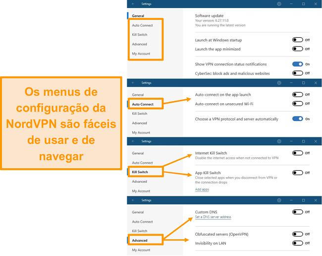 Captura de tela dos menus da área de trabalho do NordVPN.