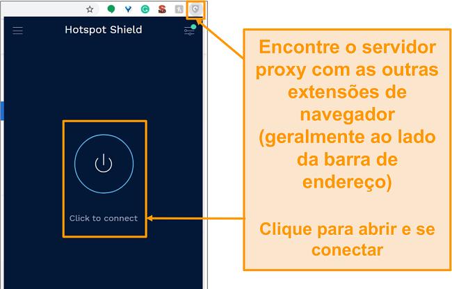 Captura de tela da extensão de navegador proxy gratuita do Hotspot Shield