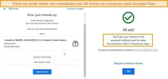 Capturas de tela do processo de reembolso do WARP Google