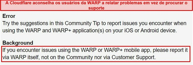 Captura de tela das informações de suporte ao cliente WARP da Cloudflare, informando aos usuários para usar o aplicativo apenas para questões de suporte.