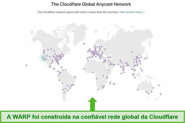 Captura de tela mostrando a rede global da Cloudflare, controladora da Warp e como ela aumenta a velocidade do WARP